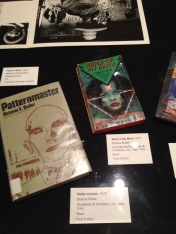 """Displayed here are Octavia Butler's """"Patternmaster"""" (1976) and """"Mind of My Mind"""" (1977). These titles were included in the Lookin' Back In Front of Me exhibit because of Mark Steven Greenfield's artistic influence and inspiration by the musical pioneers of Afrofuturism in the 1970s, more notably Sun Ra and Parliament Funkadelic. [Lookin' Back In Front of Me: Selected Works of Mark Steven Greenfield, 1974-2014] California African American Museum"""