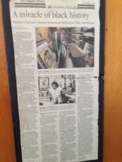"""""""A Miracle of Black History"""" newspaper clipping on the MCLM in the LA Times by Larry Harnisch (July 25, 2012)"""