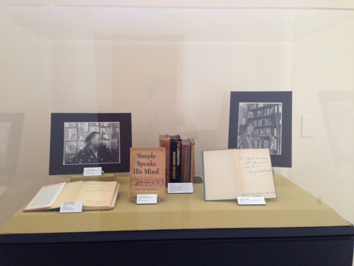MCLM collection | Display case with books and images of Langston Hughes