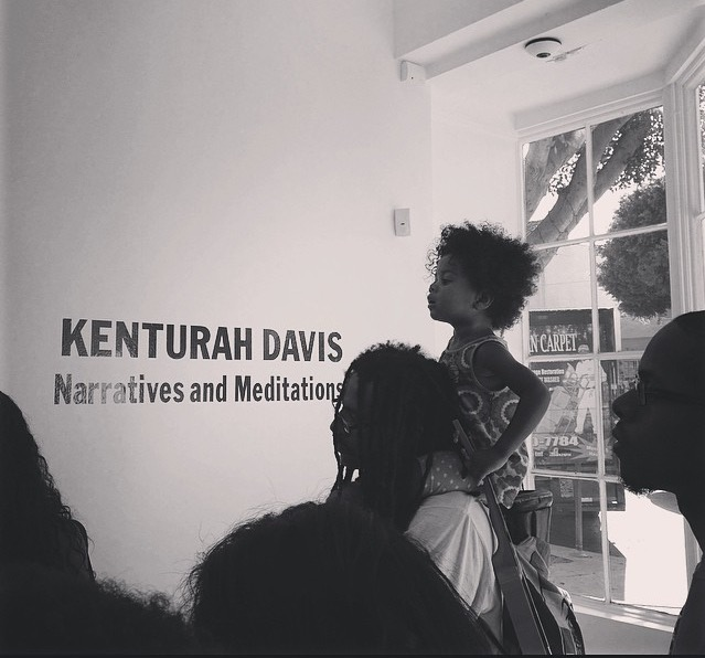 Father and daughter at Artist Talk with Kenturah Davis at Papillion Art Gallery | Photo by Danielle Hall (2014)